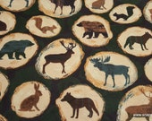 Flannel Fabric - Animals on Wooden Logs - By the yard - 100% Cotton Flannel