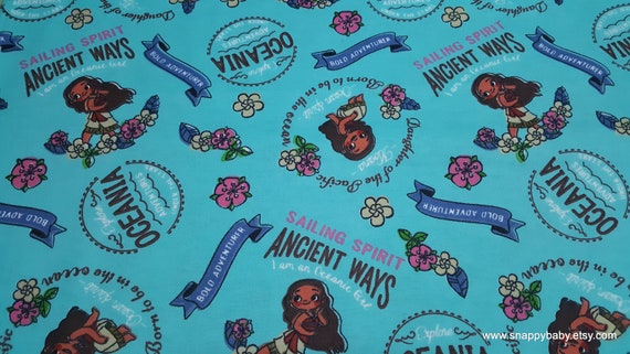 Character Flannel Fabric - Disney Moana Oceanic Girl  - By the yard - 100% Cotton Flannel