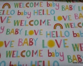 Flannel Fabric - Welcome Baby Words Multi - By the yard - 100% Premium Cotton Flannel