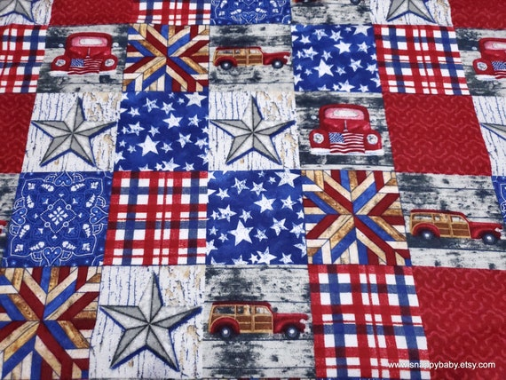 Flannel Fabric - Vintage Car Patchwork - By the yard - 100% Cotton Flannel