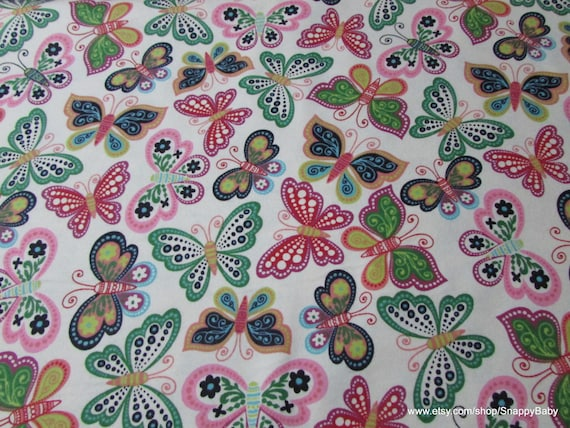Flannel Fabric - Bright Floral Butterfly - By the yard - 100% Cotton Flannel