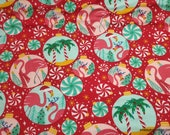 Christmas Flannel Fabric - Tropical Ornaments - By the yard - 100% Cotton Flannel