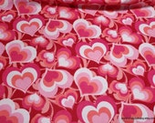 Flannel Fabric - Multi Pink Hearts - By the yard - 100% Cotton Flannel