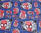 Character Flannel Fabric - Spiderman Comic Swirl - By the yard - 100% Cotton Flannel