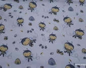 Flannel Fabric - Bee Hive - By the yard - 100% Cotton Flannel