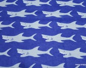 Flannel Fabric - Sharks - By the yard - 100% Cotton Flannel