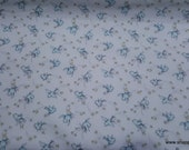 Flannel Fabric - Light Blue Birds on White - By the yard - 100% Cotton Flannel