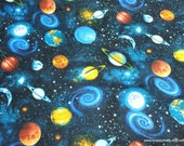 Flannel Fabric - Space Planets and Black Hole - By the yard - 100% Cotton Flannel