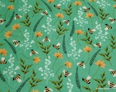 Flannel Fabric - Bee Floral - By the yard - 100% Cotton Flannel