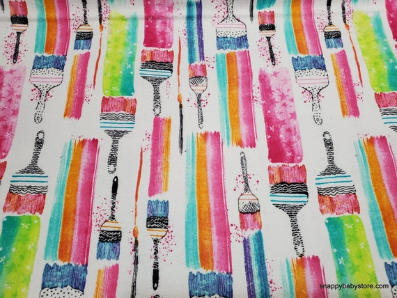 Flannel Fabric - Rainbow Paint Brushes - By the yard - 100% Cotton Flannel