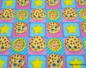 Character Flannel Fabric - Shopkins Kooky Cookie - By the yard - 100% Cotton Flannel