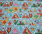 Character Flannel Fabric - Girl Scout Brownies Badges Blue - By the yard - 100% Cotton Flannel