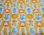 Character Flannel Fabric - Care Bears Funshine and Bedtime Bears on Yellow - By the yard - 100% Cotton Flannel