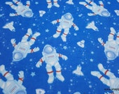 Flannel Fabric - Floating Astronauts on Blue - By the yard - 100% Cotton Flannel
