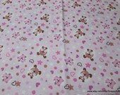 Flannel Fabric - Sweet Cats and Dogs - By the yard - 100% Cotton Flannel