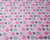Flannel Fabric - Hearts in Dots Pink Gray - By the yard - 100% Cotton Flannel