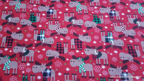 Christmas Flannel Fabric - Christmas Moose in Sweaters Red - By the yard - 100% Cotton Flannel