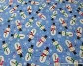 Christmas Flannel Fabric - Christmas Snowman - By the Yard - 100% Cotton Flannel