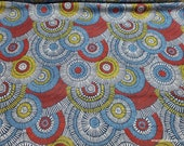 Flannel Fabric - Overlap Circle Red Navy - By the yard - 100% Cotton Flannel