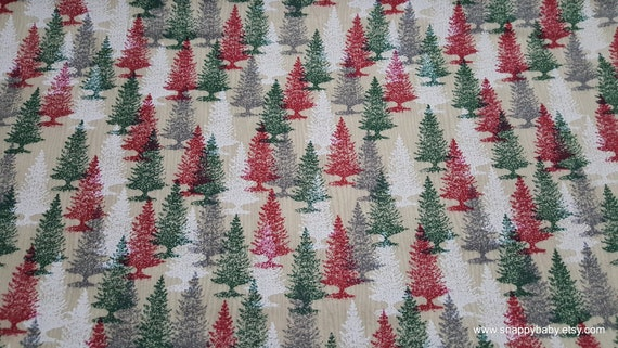 Christmas Flannel Fabric - Red and Green Trees -By the Yard - 100% Cotton Flannel