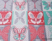 Flannel Fabric - Butterfly Patchwork - By the yard - 100% Cotton Flannel