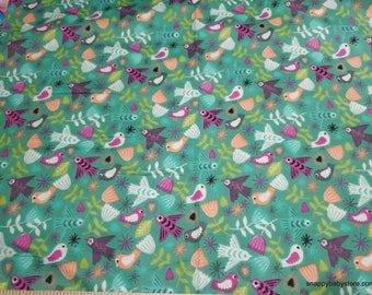 Flannel Fabric - Soaring Birds - By the yard - 100% Cotton Flannel