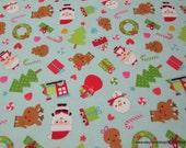 Christmas Premium Flannel Fabric - Santamain Blue - By the yard - 100% Cotton Flannel