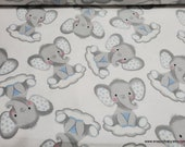 Flannel Fabric - Sleepy Elephants on Clouds - By the yard - 100% Cotton Flannel