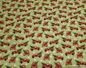 Christmas Premium Flannel Fabric - Jingle Bell Red Truck Green Premium - By the yard - 100% Premium Cotton Flannel