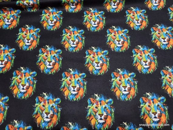 Flannel Fabric - Tie Dye Lion Faces - By the yard - 100% Cotton Flannel
