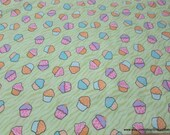 Flannel Fabric - Cupcakes - By the yard - 100% Cotton Flannel