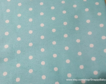 Flannel Fabric - White Dots on Aqua Blue - By the Yard - 100% Cotton Flannel