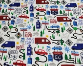 Flannel Fabric - Patriotic Road Trip - By the yard - 100% Cotton Flannel
