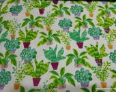 Flannel Fabric - Potted Plants - By the yard - 100% Cotton Flannel