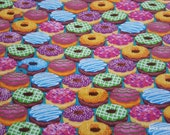 Flannel Fabric - Colorful Donuts Packed - By the yard - 100% Cotton Flannel