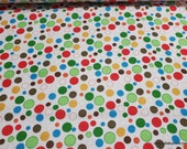 Flannel Fabric - Multi Circles on White - By the yard - 100% Cotton Flannel