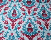 Flannel Fabric - Joy Damask Red Teal - By the yard - 100% Cotton Flannel
