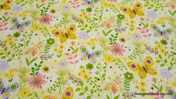 Flannel Fabric - Patterned Trap Butterfly - By the yard - 100% Cotton Flannel