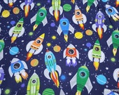 Flannel Fabric - Spaceships Takeoff - By the yard - 100% Cotton Flannel