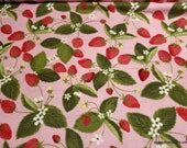 Flannel Fabric - Strawberries - By the Yard - 100% Cotton Flannel
