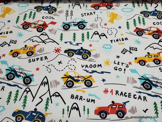 Flannel Fabric - Adventure Cars Allover - By the yard - 100% Cotton Flannel