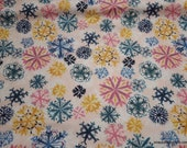 Christmas Flannel Fabric - Pastel Snowflakes - By the Yard - 100% Cotton Flannel