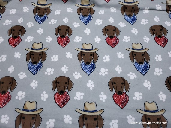 Flannel Fabric - Dachshund Cowboy Faces - By the yard - 100% Cotton Flannel