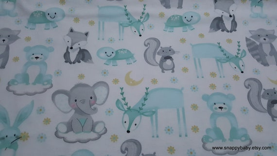 Flannel Fabric - Sleepy Animals on Clouds - By the yard - 100% Cotton Flannel