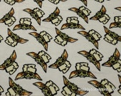 Character Flannel Fabric - Baby Yoda Star Wars - By the yard - 100% Cotton Flannel