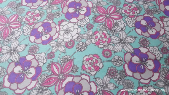 Flannel Fabric - Gypsy Flowers - By the yard - 100% Cotton Flannel