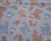 Flannel Fabric - Woodland Tossed - By the yard - 100% Cotton Flannel