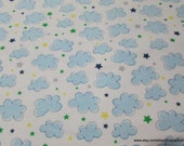 Flannel Fabric - Airplane Clouds White - By the yard - 100% Cotton Flannel