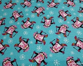 Christmas Flannel Fabric - Penguins Skiing Blue - By the yard - 100% Cotton Flannel