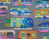 Flannel Fabric - Retro RV on Gray - By the yard - 100% Cotton Flannel